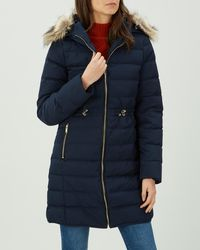 Jaeger - 3/4 Length Puffer With Leather Details - Lyst