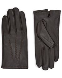 Jaeger Leather Touchscreen Gloves - Brown