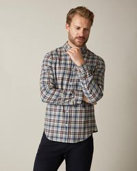 Jaeger Brushed Flannel Check Shirt - Gray