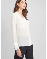 Jaeger - Patch Pocket Washable Silk Blouse - Lyst
