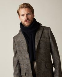 Jaeger Ribbed Wool Cashmere Scarf - Blue