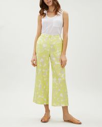 Jaeger - Floral Camouflage Cropped Wide Leg Linen - Lyst