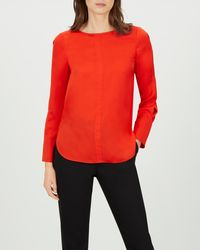 Jaeger - Satin Mandarin Collar Piped Blouse - Lyst