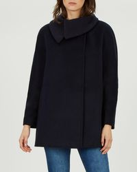Jaeger - Knitted Collar Wool Coat - Lyst