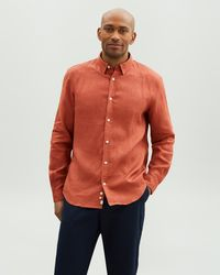 Jaeger Long Sleeve Linen Shirt - Orange