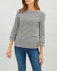Jaeger - Staggered Pique Breton Tee - Lyst