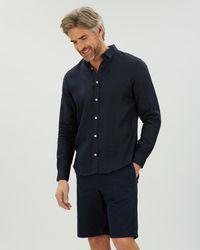 Jaeger Long Sleeve Linen Shirt - Blue