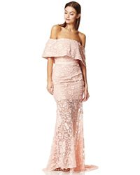 Jarlo - Henna All Layered Bardot All Over Embroidered Lace Maxi Dress - Lyst
