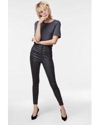 J Brand | Natasha Leather Super High-rise Pant In Dark Platinum | Lyst