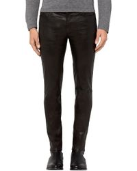 J Brand - Mick Skinny Fit In Washed Black Leather - Lyst