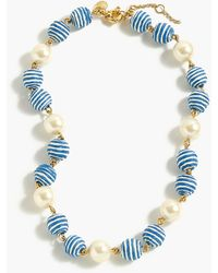 J.Crew - Striped Bead-and-pearl Necklace - Lyst