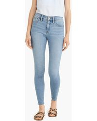 "J.Crew - 9"" High-rise Knit Toothpick Jean In Light Blue Wash - Lyst"