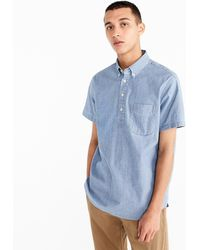 J.Crew - Short-sleeve Popover Shirt In Stretch Chambray - Lyst