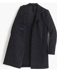 Harris Wharf London Boiled Wool Topcoat In Tartan - Blue
