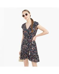 J.Crew - Petite Ruffle-front Mini Dress In Soft Rayon Tapestry Floral - Lyst