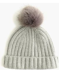050eefb43e32d Lyst - J.Crew Knit Hat With Faux-fur Pom-pom in Black
