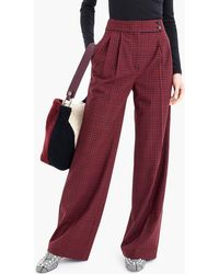 J.Crew - High-waisted Wide-leg Pant With Asymmetrical Button In Plaid - Lyst