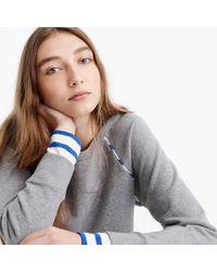 J.Crew - Cropped Stripe-trimmed Sweatshirt - Lyst