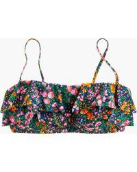 J.Crew - Ruffle Bandeau Bikini Top In Mayapple Orange Floral - Lyst