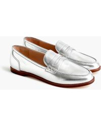 J.Crew - Ryan Penny Loafers In Metallic Leather - Lyst