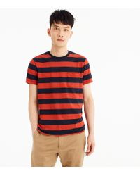 J.Crew - Mercantile Broken-in T-shirt In Red Rugby Stripe - Lyst