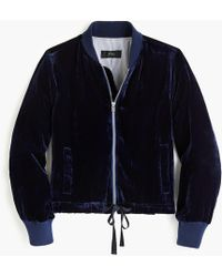 J.Crew - Velvet Bomber Jacket With Waist Ties - Lyst