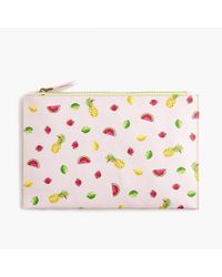 J.Crew - Large Leather Pouch In Fruit Salad - Lyst