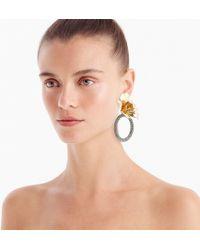 J.Crew - Flower And Crystal Door Knocker Clip-on Earrings - Lyst