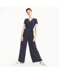 J.Crew - Petite Short-sleeve Wrap Jumpsuit In Polka Dot - Lyst