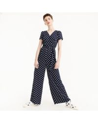 b894f32be9b Lyst - J.Crew Petite Linen-cotton V-neck Jumpsuit In Zigzag in Blue