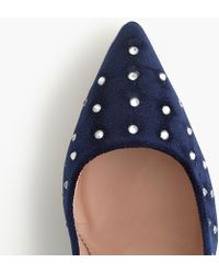 J.Crew - Pointed Toe Court Shoes With Embellishment In Velvet - Lyst