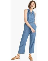 J.Crew - Wide-leg Chambray Jumpsuit - Lyst