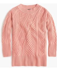 J.Crew - Patchwork Cable Knit Oversize Tunic Jumper - Lyst