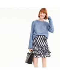 J.Crew - Petite Ruffle Skirt In Dot - Lyst