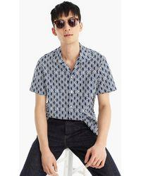 J.Crew - Short-sleeve Printed Camp-collar Shirt In Slub Cotton - Lyst