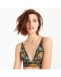J.Crew - Deep V-neck French Bikini Top In Dryad Palms Print - Lyst