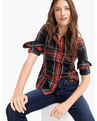d6907135dc9d J.Crew - Curvy Slim Stretch Perfect Shirt In Stewart Tartan - Lyst