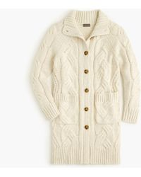 J.Crew - Point Sur Long Cable-knit Cardigan Jumper In Donegal Yarn - Lyst