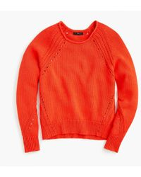 J.Crew - Cotton Pullover Sweater With Pointelle Stitching - Lyst