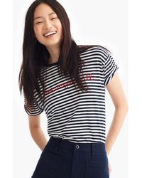 "J.Crew - Striped ""love Conquers All"" T-shirt - Lyst"