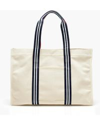 J.Crew - Large Canvas Tote With Striped Straps - Lyst