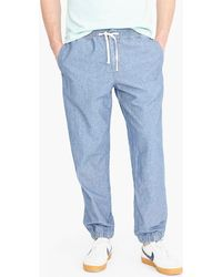 J.Crew - Relaxed-fit Drawstring Pant In Indigo Chambray - Lyst