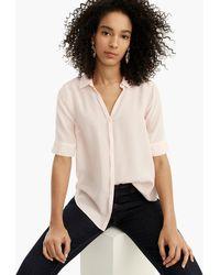 4179f8c72bfa4 J.Crew - Petite Short-sleeve Button-up Shirt In Silk - Lyst