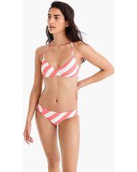 J.Crew - French Cross-back Bikini Top In Asymmetric Stripe - Lyst