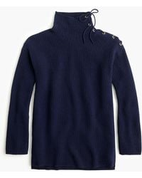 J.Crew - Ribbed Tunic Jumper With Tie Neck - Lyst