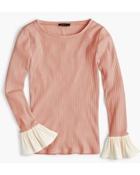 J.Crew - Ribbed Bell-sleeve Top - Lyst