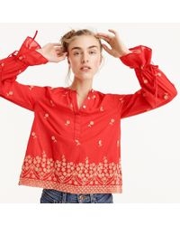 J.Crew - Petite Embroidered Floral Popover - Lyst