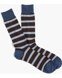 J.Crew - Brown Striped Socks - Lyst