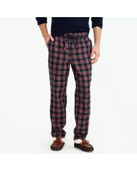 J.Crew - Flannel Pyjama Pant In Red And Black Tartan - Lyst