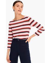 d4d590952477c1 Lyst - J.Crew Boatneck T-shirt In Multicolor Stripe in Orange